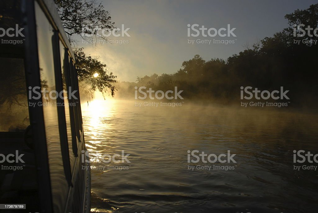 Boat on the River Early Morning stock photo