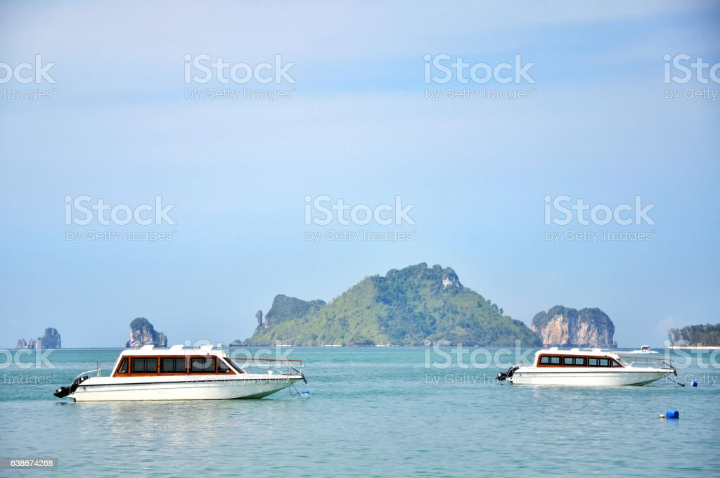 Boat on the sea in Krabi Thailand stock photo