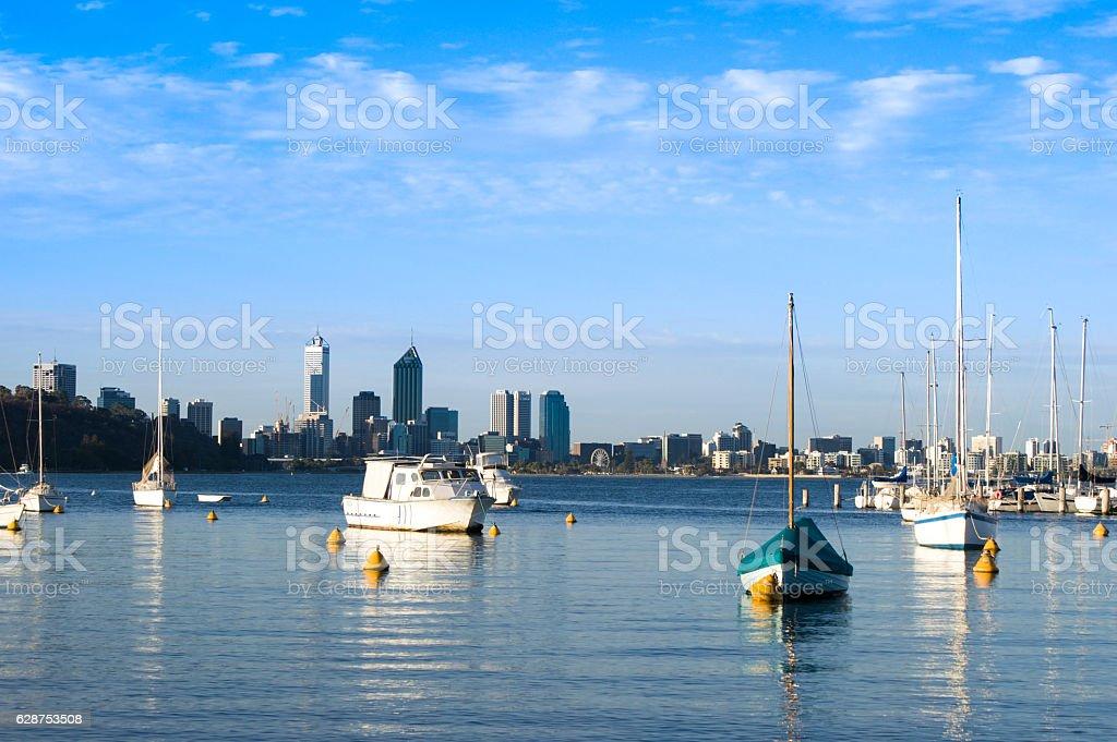 Boat on the swan river side in Perth, Australia. stock photo
