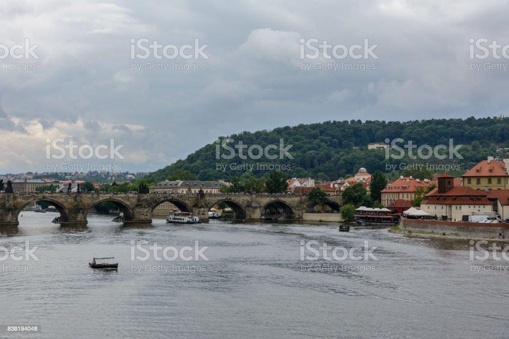 Boat on the Vltava river in Prague, Czech Republic stock photo
