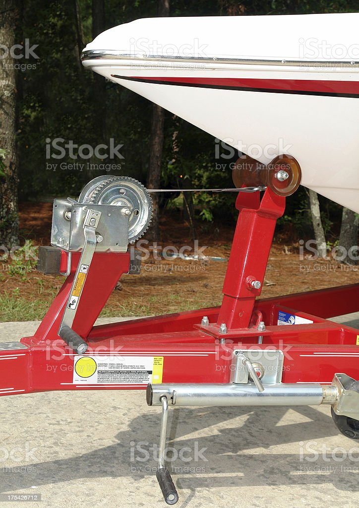 boat on trailer royalty-free stock photo