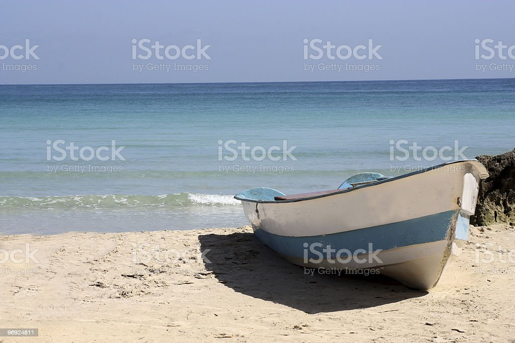 Boat On Tropical Beach Dominican Republic royalty-free stock photo