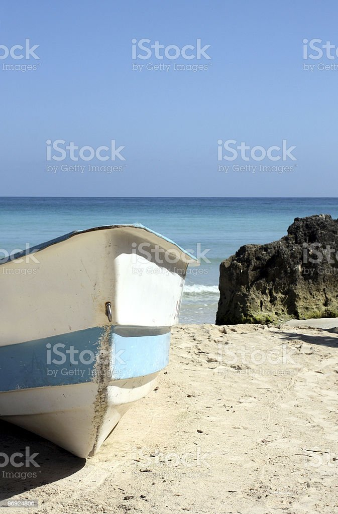 Boat On Tropical Beach royalty-free stock photo