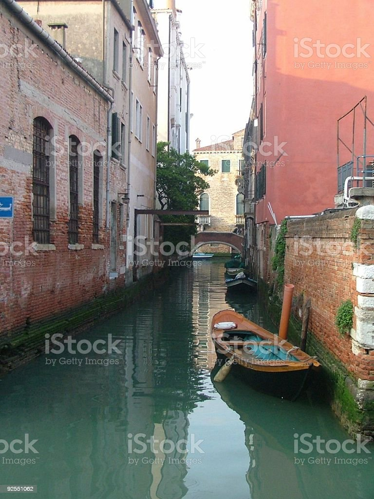 Boat on Venice Residential Canal royalty-free stock photo