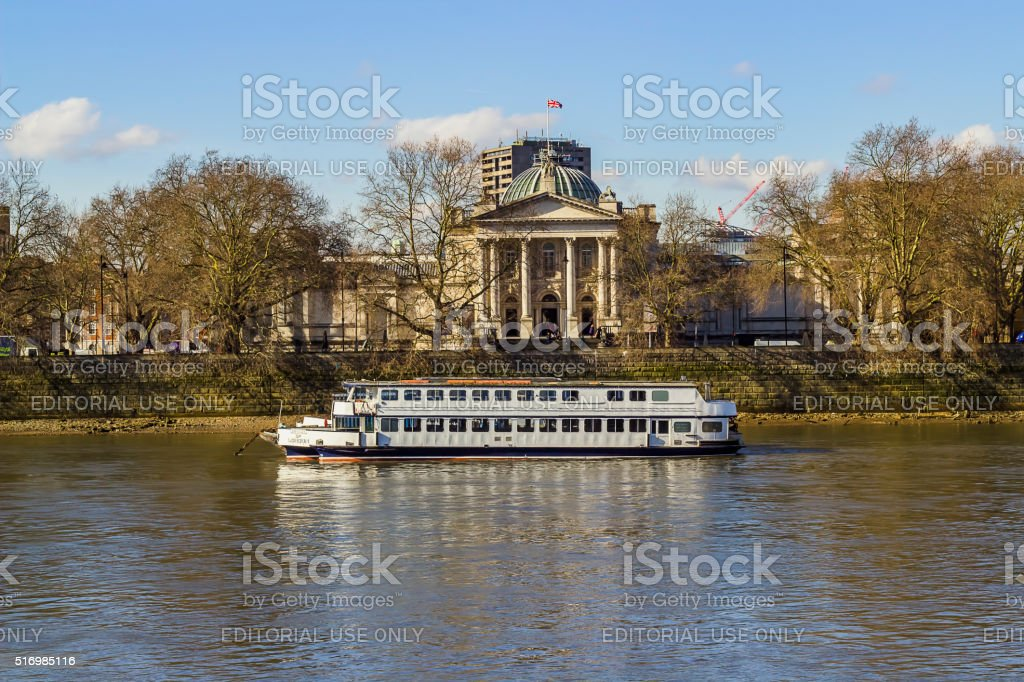 Boat over Thames river stock photo