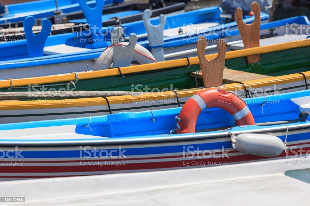 Boat parking in Bardolino stock photo
