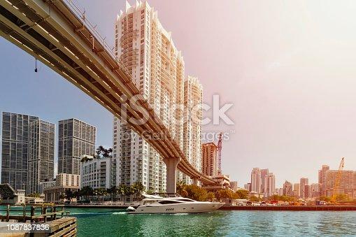 istock Boat passing under a bridge on Miami River. 1087837836
