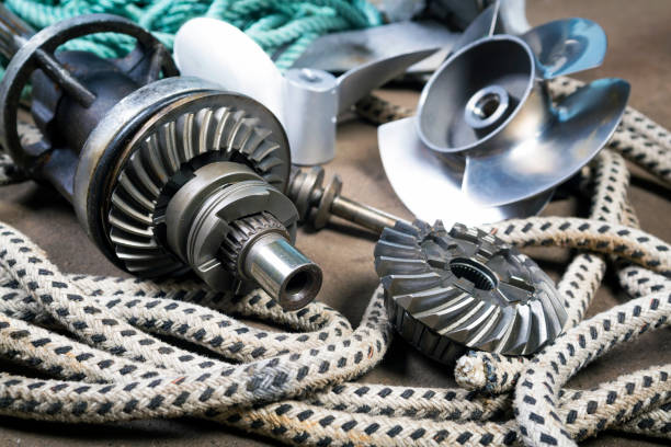 Boat propellerl, gears and  ropes Boat propeller Speed Boat made of stainless steel, gears and ropes propeller stock pictures, royalty-free photos & images