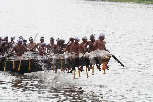 Aranmula,India-August 27, 2010:Participants of Snake Boat race taking rehearsal August 27, 2010 in Aranmula, Kerala, India.