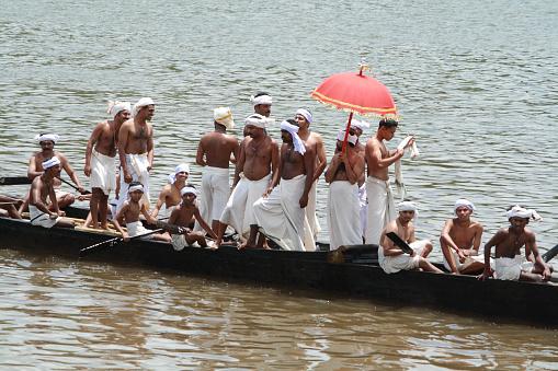 Aranmula,India-July 31, 2010:Participants of Snake Boat race taking rehearsal , July 31 2010 in Aranmula, Kerala, India.