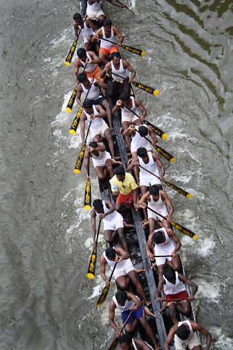 Thiruvalla, India-August 23, 2010: A Snake boat team in the Pumba Boat race on August 23, 2010 in Thiruvalla, India.