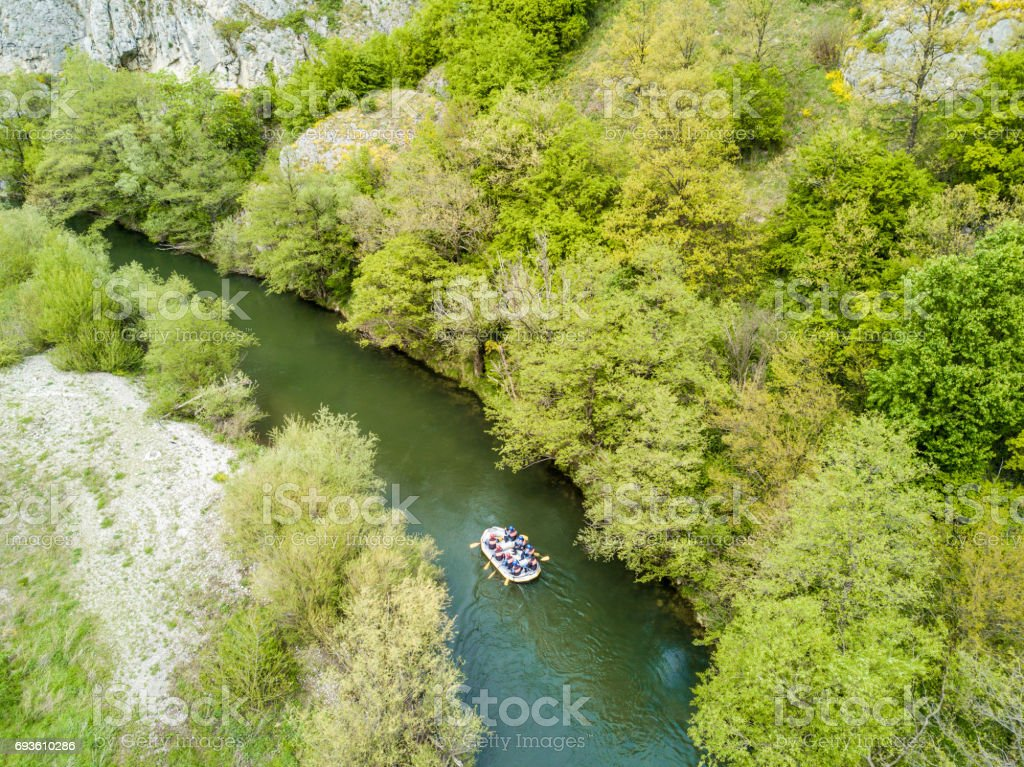 Boat rafting on river stock photo