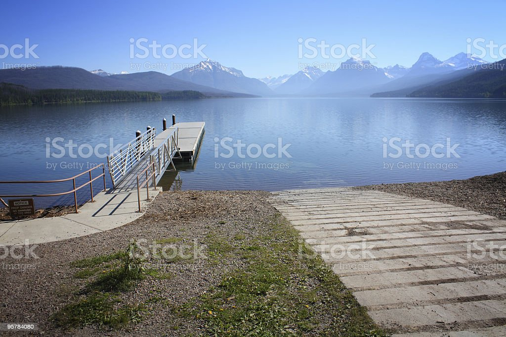 Boat Ramp and Dock, Glacier National Park royalty-free stock photo