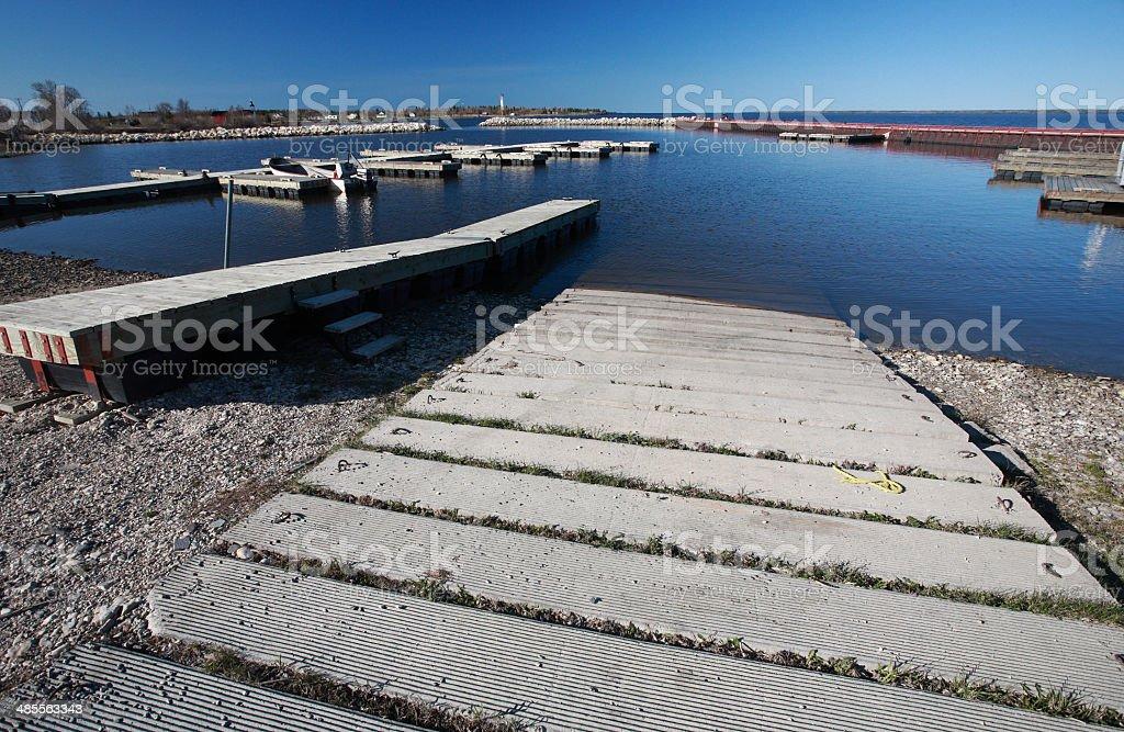 boat ramp at Hecla Marina on Lake Winnipeg stock photo
