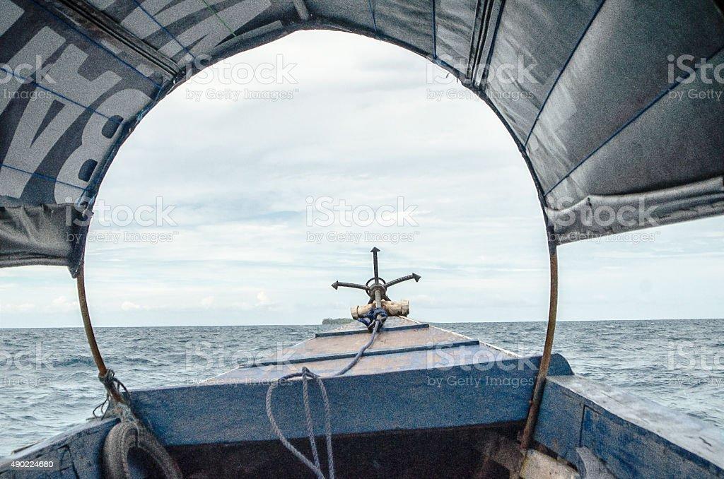 Boat refugees stock photo