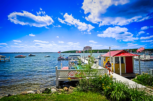 Boat Rental Center On Lake Geneva In Wisconsin Stock Photo - Download Image Now