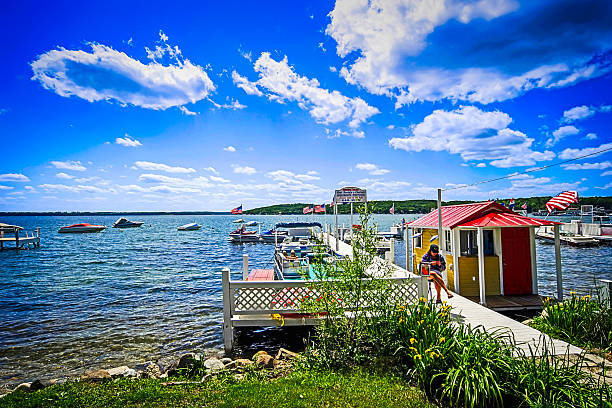 boat rental center on lake geneva in wisconsin - lake geneva stock photos and pictures