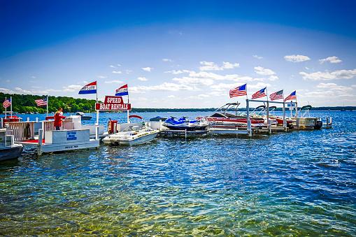 Boat rental center on Lake Geneva in Wisconsin