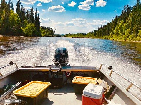 Boat riding fun day in Salcha river, Fairbanks, Alaska, USA