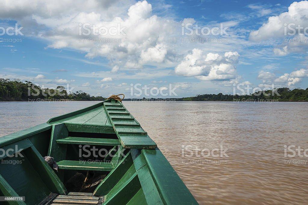 boat river peruvian Amazon jungle Madre de Dios Peru stock photo