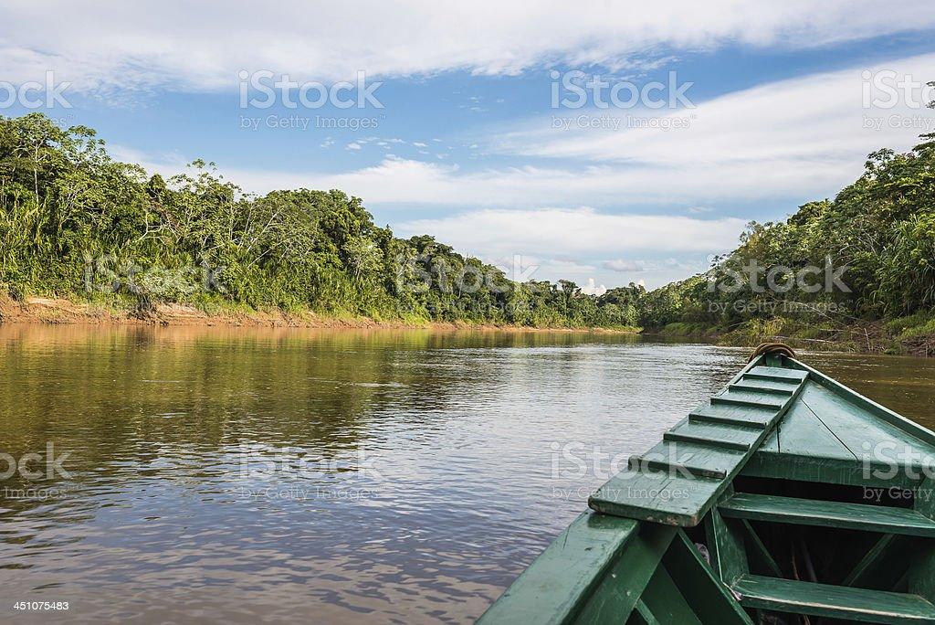 boat river peruvian amazon jungle Madre de Dios stock photo