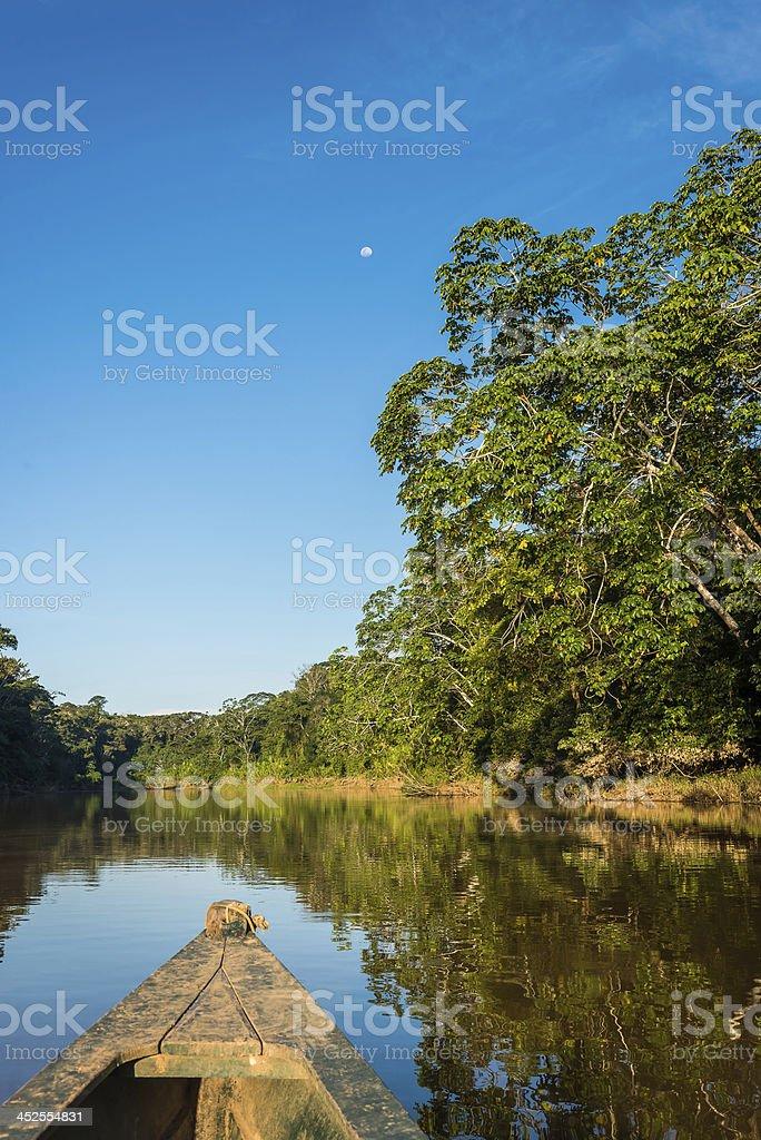 boat river peruvian Amazonian jungle Madre de Dios stock photo
