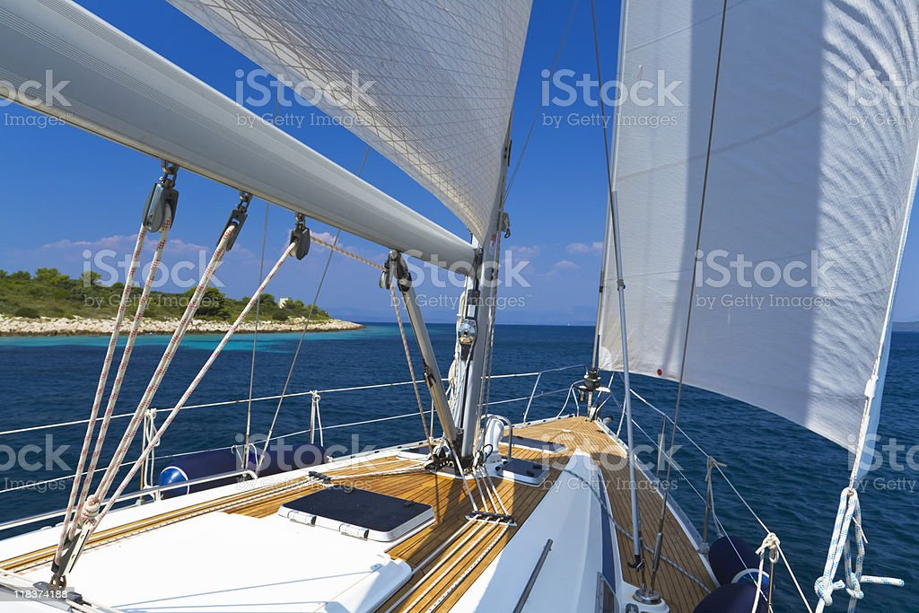 Boat sailing during the summer royalty-free stock photo