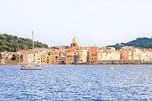 Saint Tropez, France - 8 September, 2012: Boat sailing in a beach of Saint Tropez.
