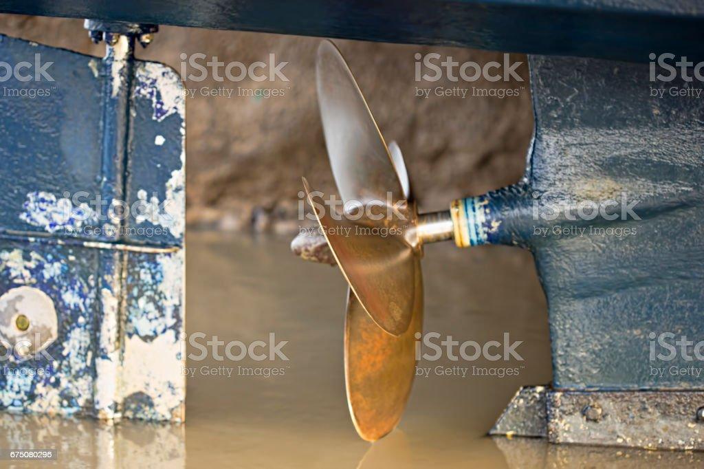 Boat screw propeller stock photo