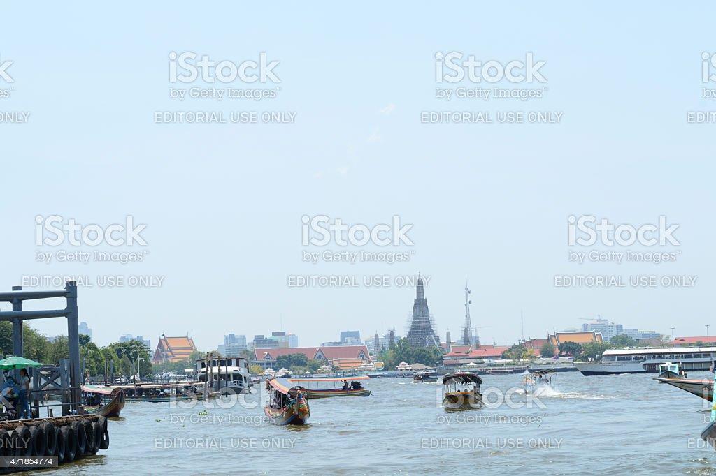 Boat Service Siriraj Hospital to Tha Phra Chan stock photo