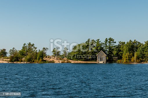 Boat shed on one of the 30,000 Islands of Ontario, Canada