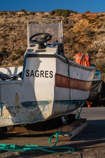 boat ship with sagres name in portugal algarve - rain clouds porto portugal imagens e fotografias de stock