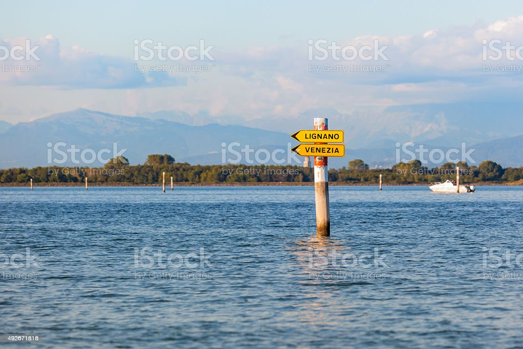 Boat sign in the lagoon of Grado Friuli Venezia Giulia stock photo