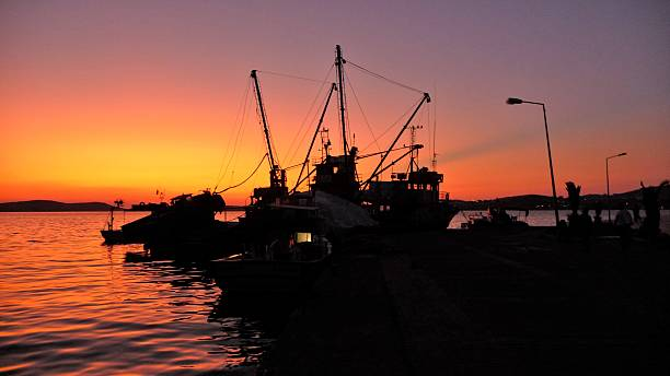 Boat silhouette 01 stock photo