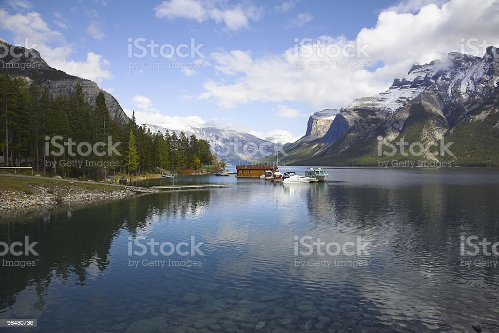 Boat station on picturesque lake royalty-free stock photo