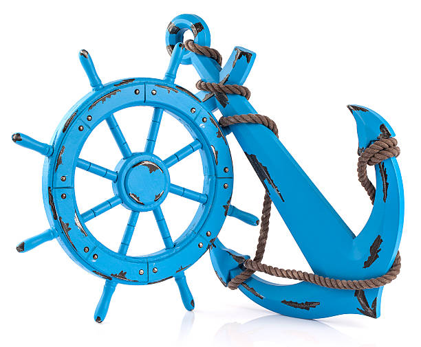Boat Steering Wheel and Anchor stock photo