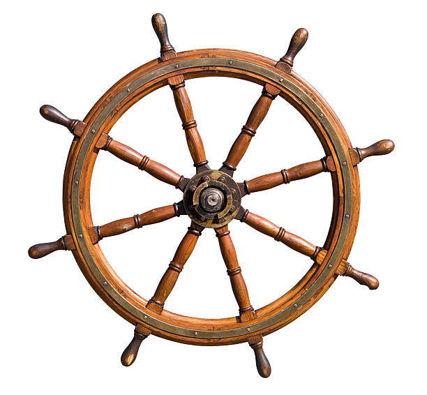 boat steering wheel cutout - roeren stockfoto's en -beelden
