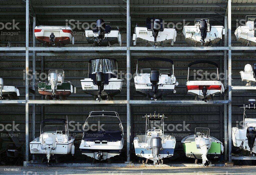 Boat storage racks stock photo