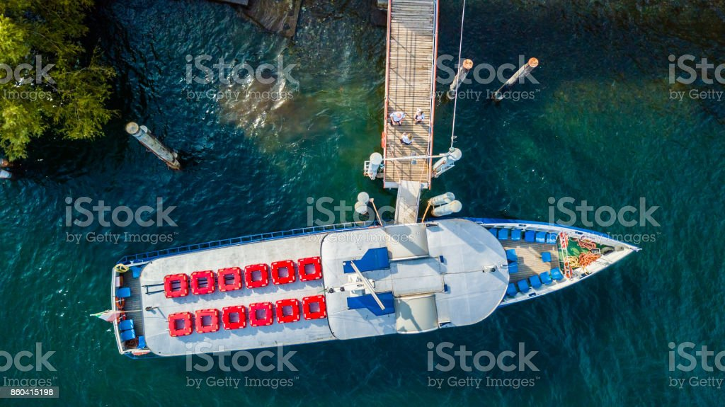 Boat Top down aerial view on the Lake Maggiore stock photo