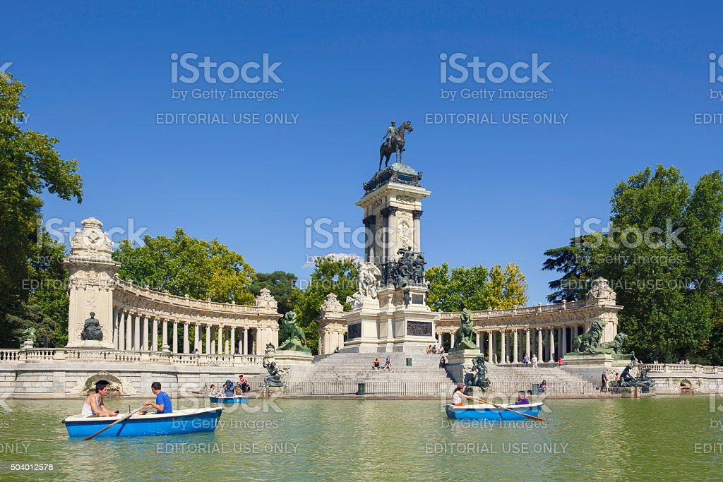 Boat tour in Retiro park stock photo