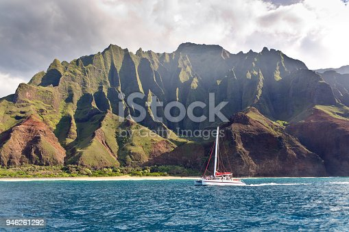 The Scenic landscape coastline of the Na Pali Coast at the Na Pali Coast State Park of the island of Kauai, Hawaii