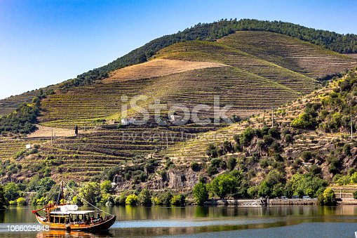 Boat tours on the Douro river, Douro valley, Porto, Portugal. Mountains and vine.