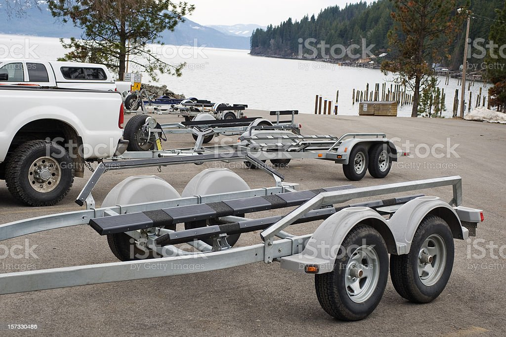 Boat Trailers with Trucks royalty-free stock photo