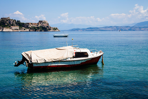 Blue Water Boats >> Boat Trip Along A River In Corfu Greece Ship On Clean Blue Water Island Houses On The Shore View Greek Beautiful Landscape White Boats Sailing