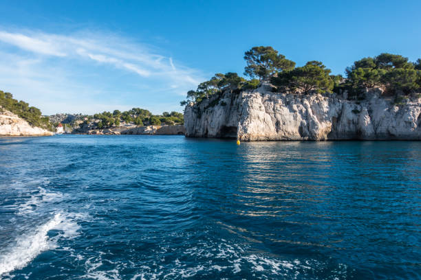 Boat trip along the coast of the Calanques National Park near Cassis, France stock photo
