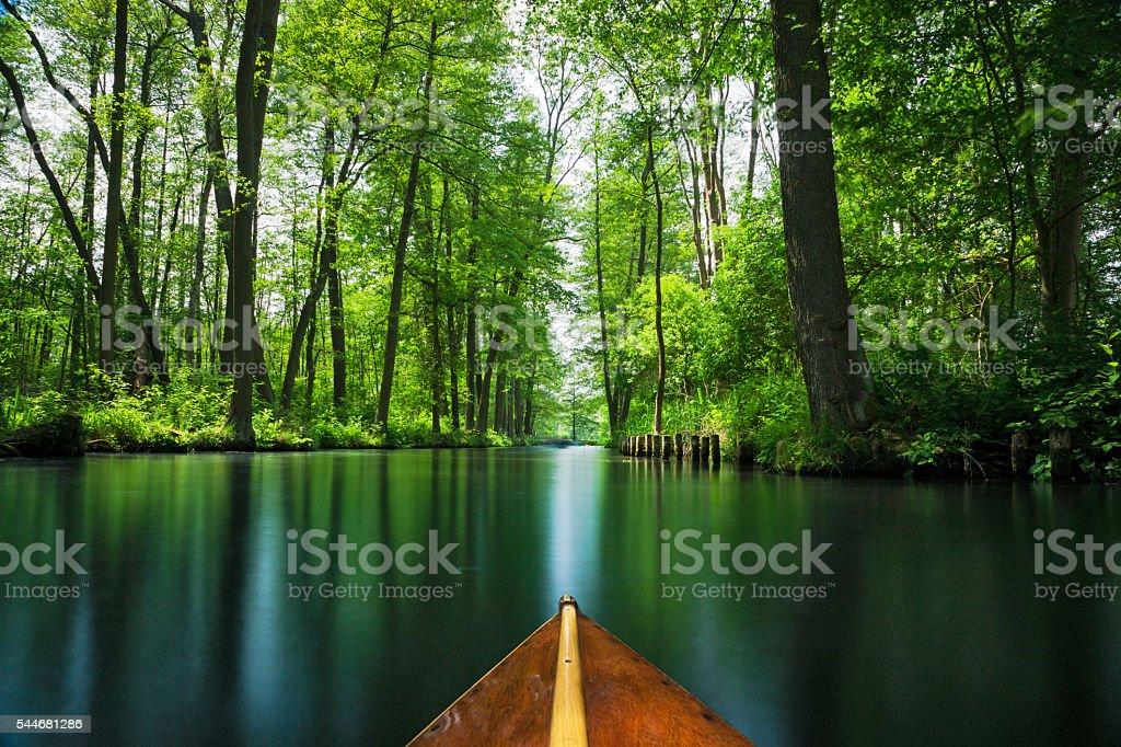 Boat trip in Spree forest near Berlin Lizenzfreies stock-foto