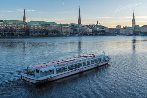 Boat trip in winter - Alster Lake Hamburg Germany