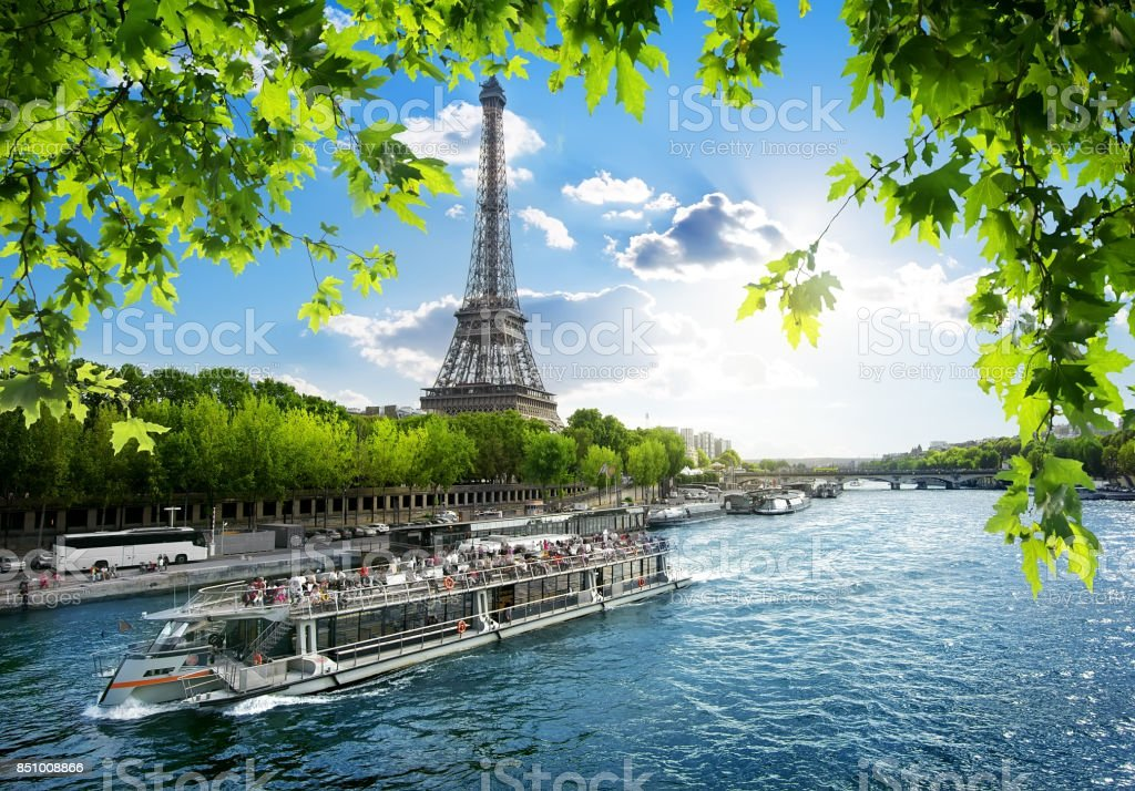 Boat trip on Seine stock photo