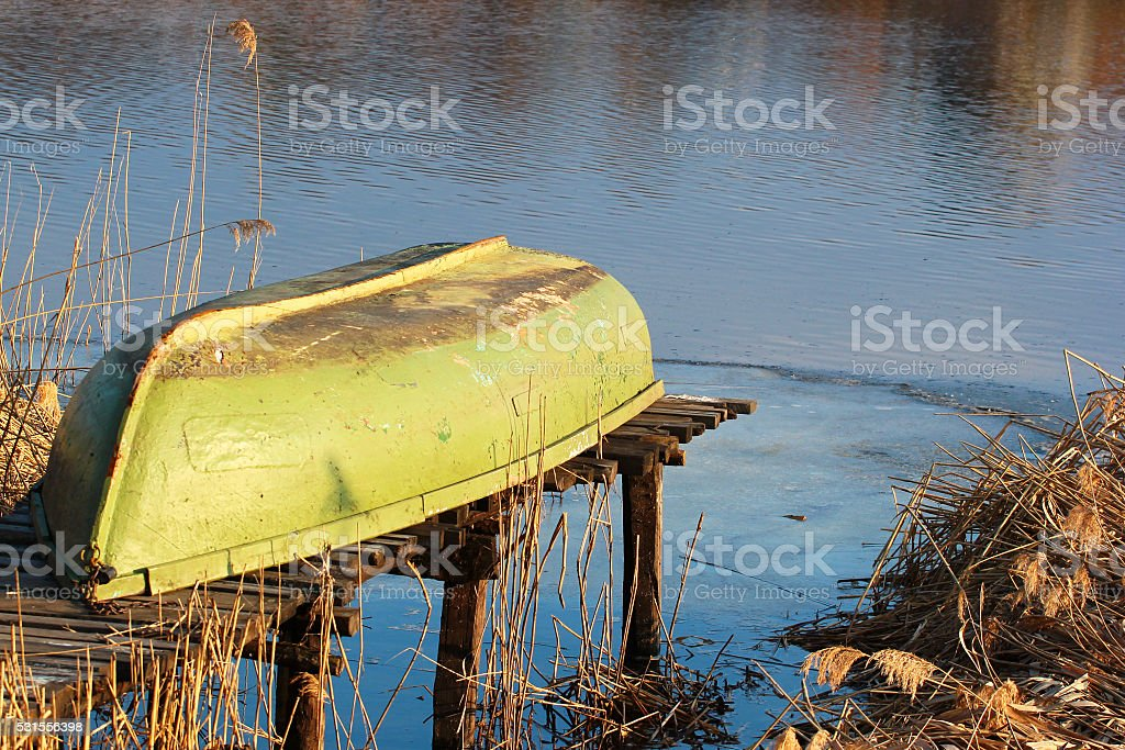 Boat turned upside down stock photo