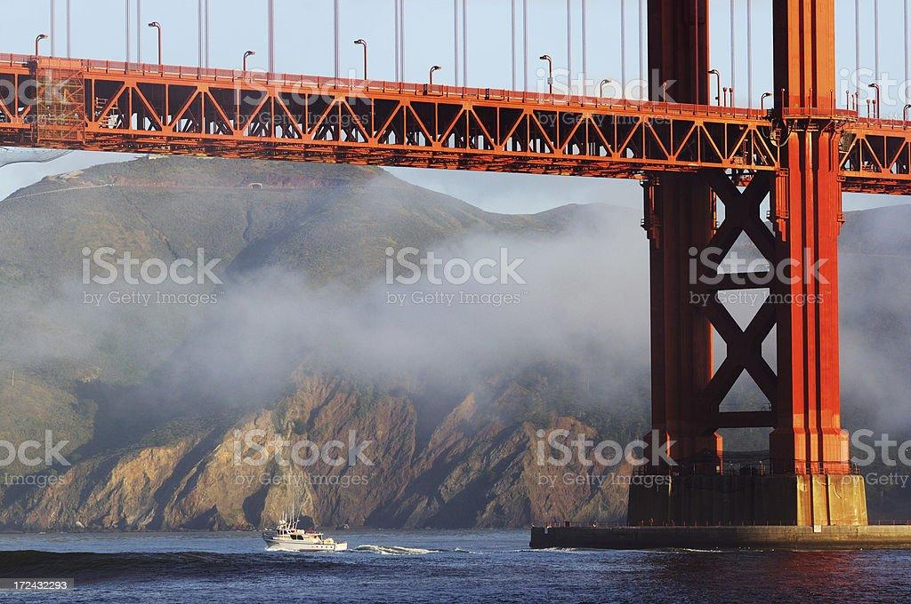 Boat under the Golden Gate Bridge, San Francisco, USA royalty-free stock photo